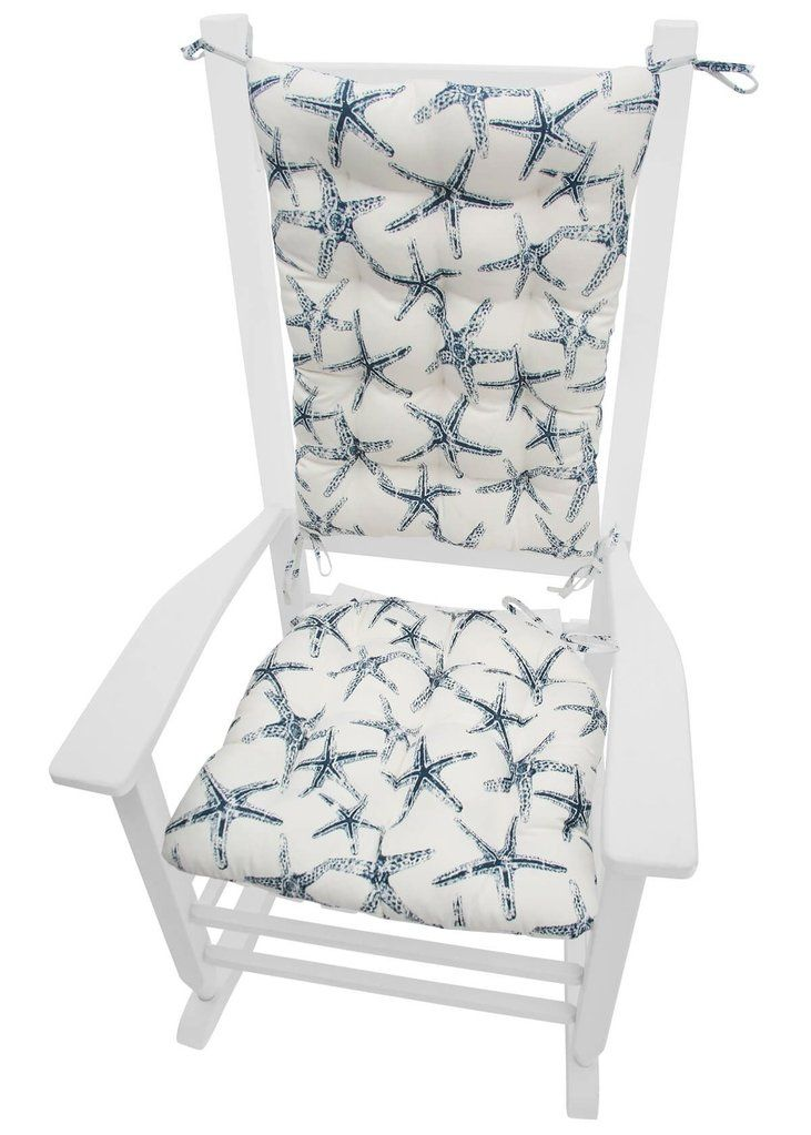 Sea Shore Starfish Navy Blue Porch Rocker Cushions Fade Resistant