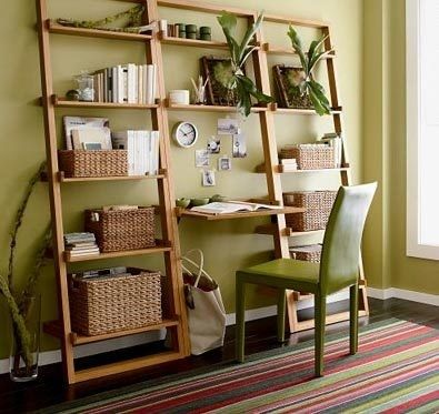Compact Office Space Using Ladder Shelves And Baskets For Organization