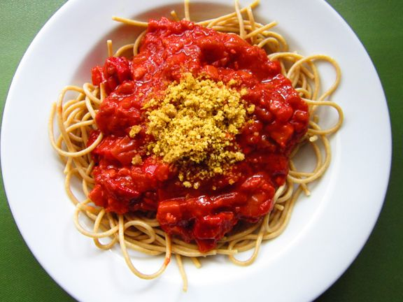 filipino style spaghetti- used to always have this and remember my brother telling my mum that he'd prefer it without the sauce!