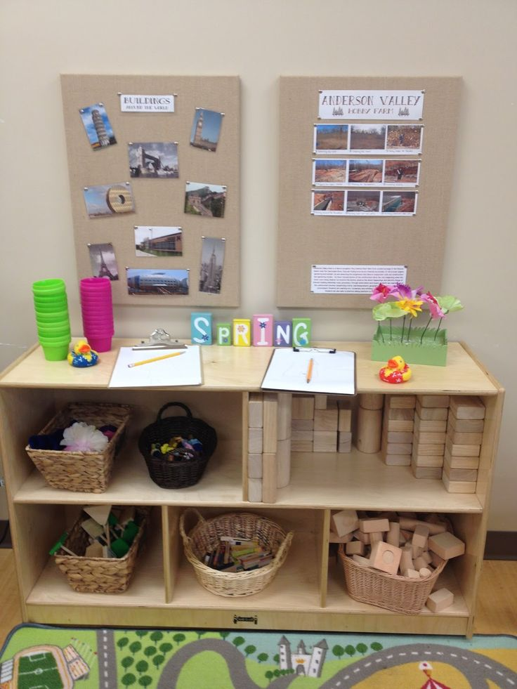 Love this idea for a preschool block area.  Take photos of children's buildings and post on a board in the block area.  Nice way to document and display children's work.