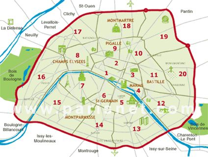 Map of Paris shows the 20 different neighborhoods which are called arrondissements. In Paris arrondissements are named according to their number.