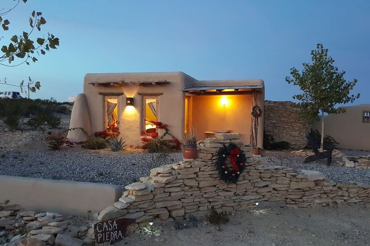 in Terlingua, US. Casa Piedra is a new adobe casita located in the heart of the Terlingua ghost town. It boasts a king size bed, large bathroom, mini fridge and a coffee/tea station. There are high-quality linens and towels, private parking and a bonus private outd...