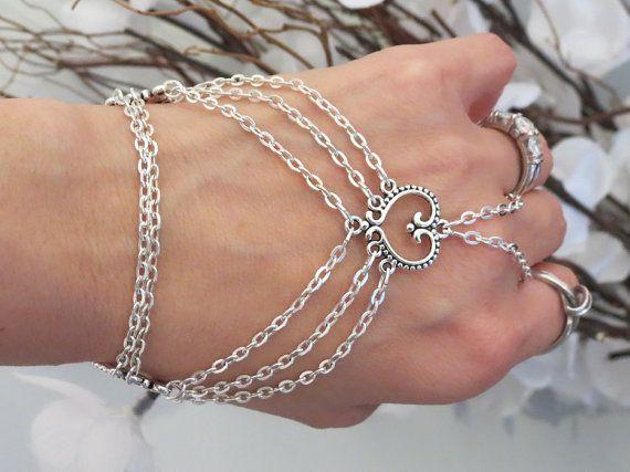 Heart Hand Chain Slave Bracelet Bracelet by TheMysticalOasisGlow, $25.00