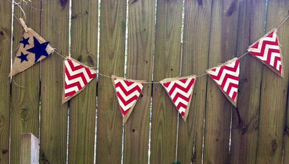 Red, White and WOW Burlap Pennant Banner
