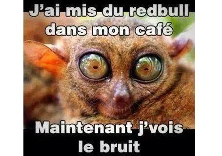 J'ai mis du redbull dans mon #café , maintenant je vois le #bruit