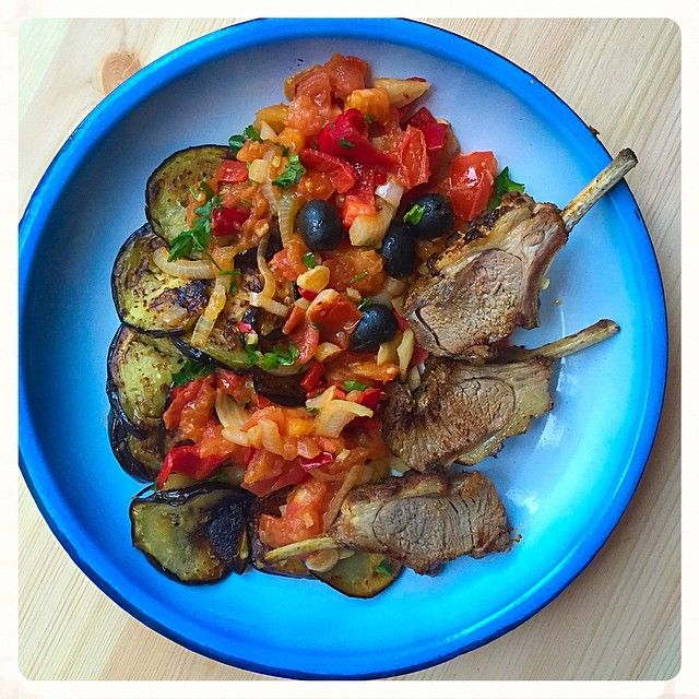 Seriously good looking lunch today! Leftover lamb cutlets, pan-fried eggplant and warm salad of onions, pepper, tomatoes and garlic with olives.