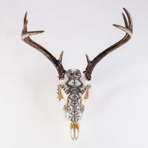 Handmade in NYC. Each found deer skull is studded by hand with precise detail. The individual characteristics of each skull is used to make a completely unique design, so no two are the same. It can hang on the wall or sit on a surface. One of a kind deer skull Embellished with crystals, studs, and spikes. WWW.MHARTDESIGNS.COM