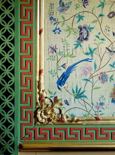 detail from the Small Chinese Salon, 1762-68 in the Chinese Palace at Oranienbaum,  frenetic geometrics contrast with delicate birds butterflies and flowers