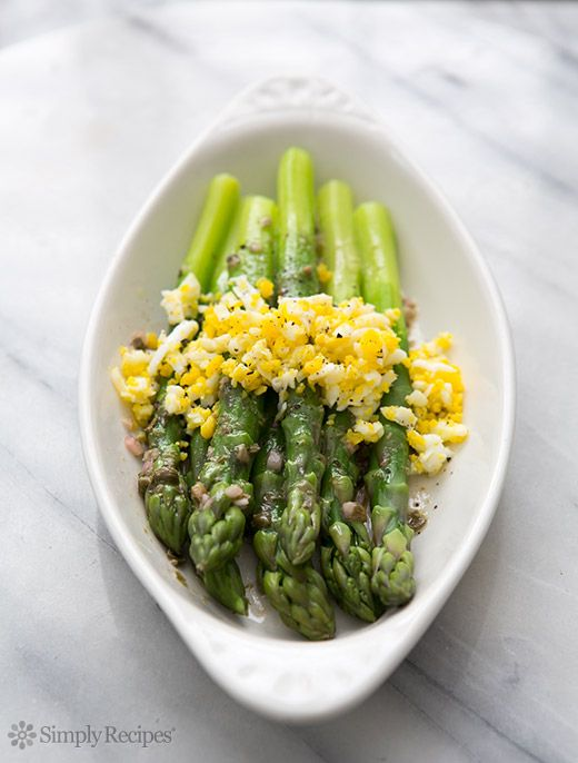 Boiled Asparagus with Sieved Eggs and Caper Vinaigrette Recipe on SimplyRecipes.com