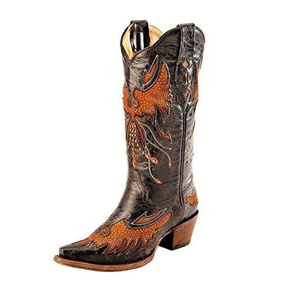 af96636d78a Corral Women's Distressed Eagle Inlay Orange Rhinestone Cowgirl Boot ...