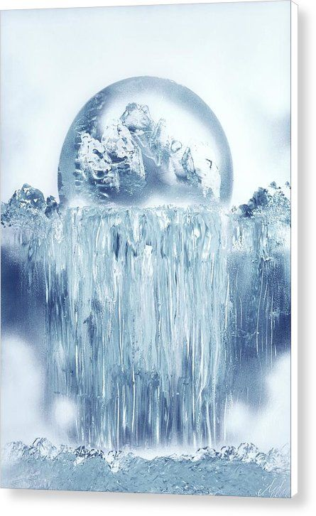 Ice Waterfall Canvas Print Featuring the painting Ice Waterfall by Nandor Molnar (When you visit the Shop, change the size, frame, canvas and wrap as you wish)