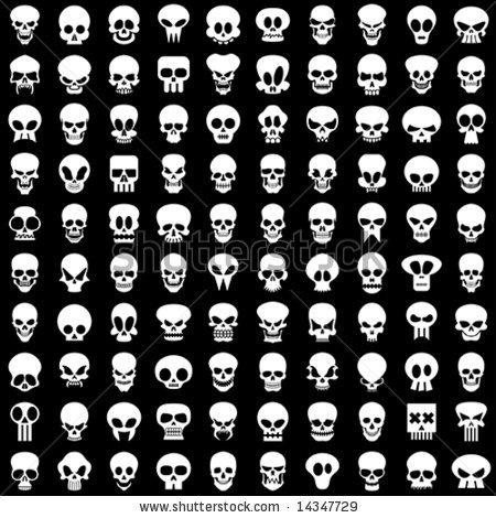 stock vector : one hundred different skulls on black background