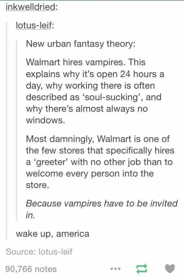 Head cannon accepted. Mostly, bc Walmart is a public place, no one lives in a store, and the invite rule applies only to residences.