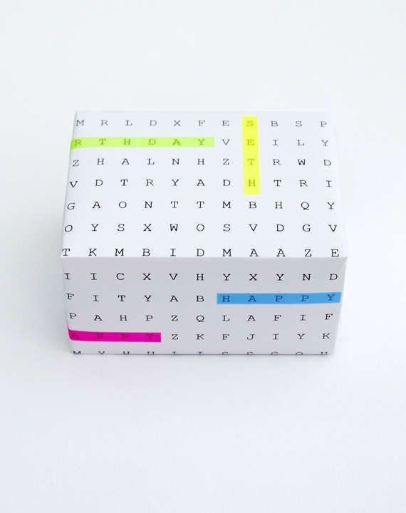 DIY Word Game Gift Wrap - This Nifty Homemade Wrapping Paper is Perfect for a Birthday Offering (GALLERY)