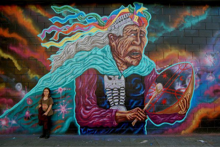 """PESKADOR: MACHI DEL PUEBLO MAPUCHE, :PEACE & DIGNITY WALL"""" EAST OAKLAND"""