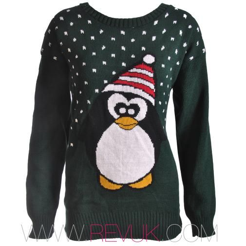 RevUK Green Penguin Christmas Jumper - £15 // revuk.com