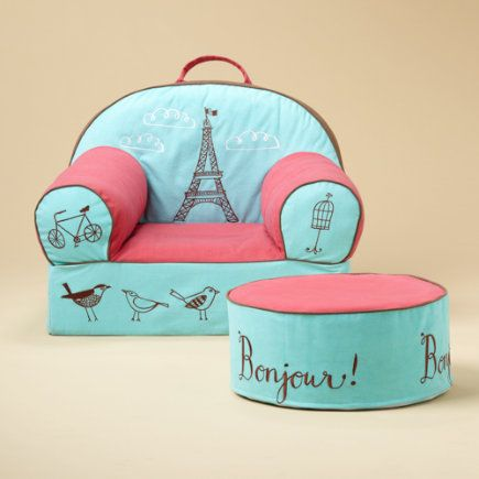 Love this Paris themed kids armchair and ottoman set. An adorable idea for a little girls bedroom or playroom! For more kids room decorating and organizing ideas visit https://www.facebook.com/KidsRoomDecor you may find something you 'LIKE'