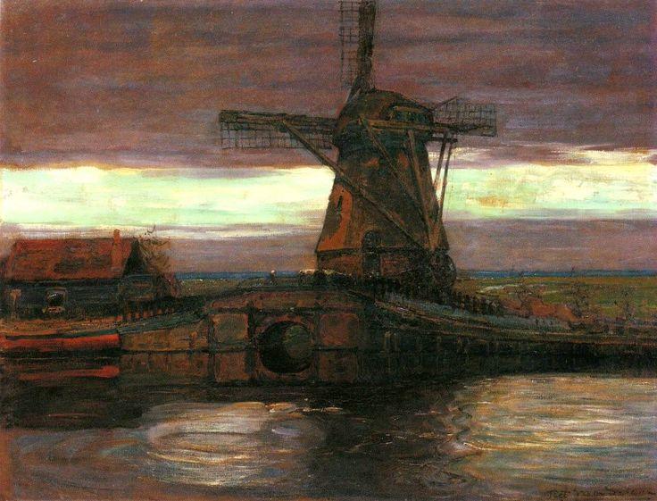 Piet Mondrian - Mulino Stammer con il cielo striato (Stammer mill with streaked sky), 1905/06.