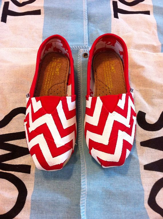 Custom Hand Painted Chevron Toms by BekasBargains on Etsy, $100.00