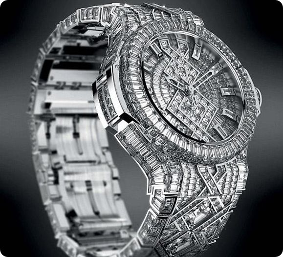 Hublot Diamond Price : $ 5 million  Hublot Diamond is one of the most expensive and beautiful watch in the world. It is designed by adorned. It contain 1200 diamonds which is 140 carat in weight. The Hublot Diamond watch was made up of 18 carat white gold.