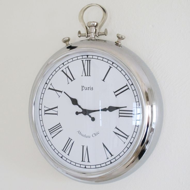 Beautiful large silver wall clock from www.bliss and bloom.co.uk