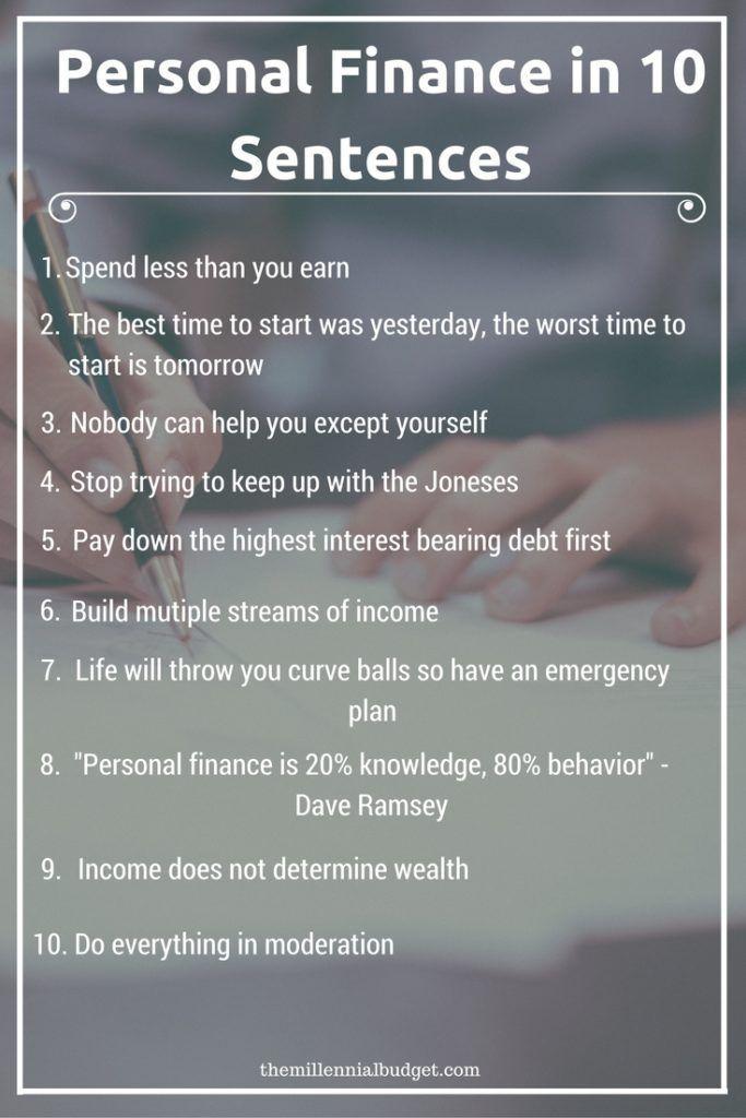 Personal Finance in 10 Sentences debt free Pinterest Personal - zero based budget spreadsheet dave ramsey