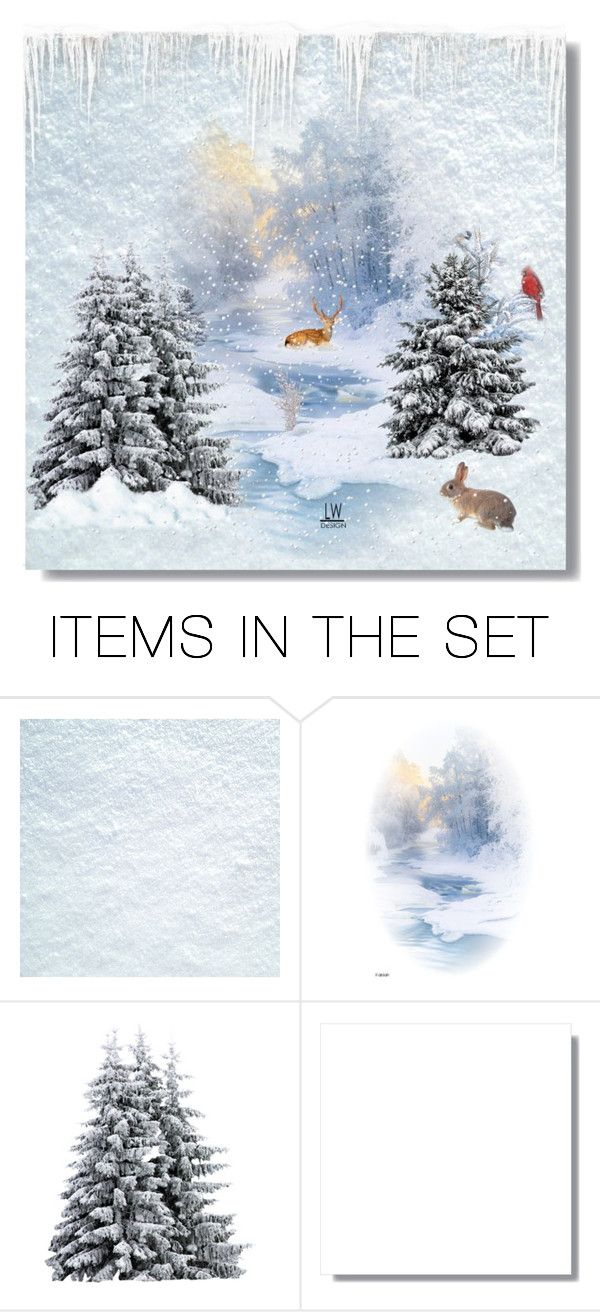 """Silent Days of Winter"" by kashmier ❤ liked on Polyvore featuring art, snow, wildlife and leatherwooddesign"