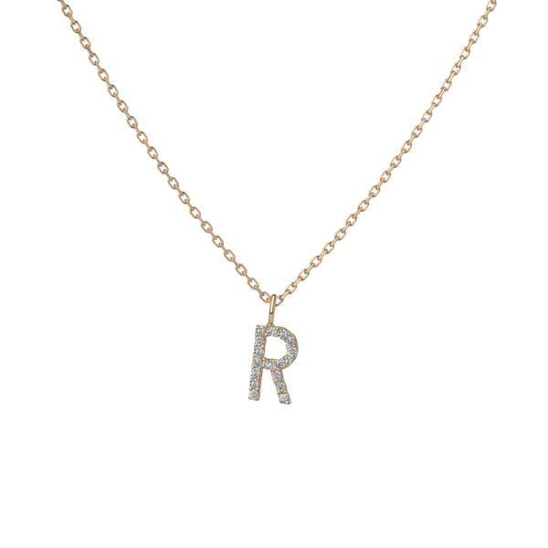 Mini Letter Charm Pendant with White Diamonds 14k Yellow Gold -R-