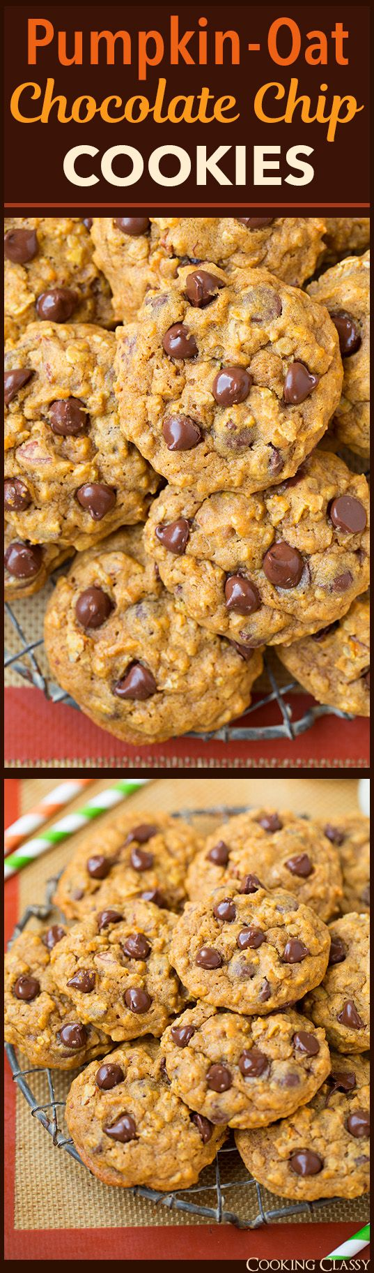 Pumpkin Oat Chocolate Chip Cookies - one of my all time FAVORITE fall cookies! We make them a few times every fall.