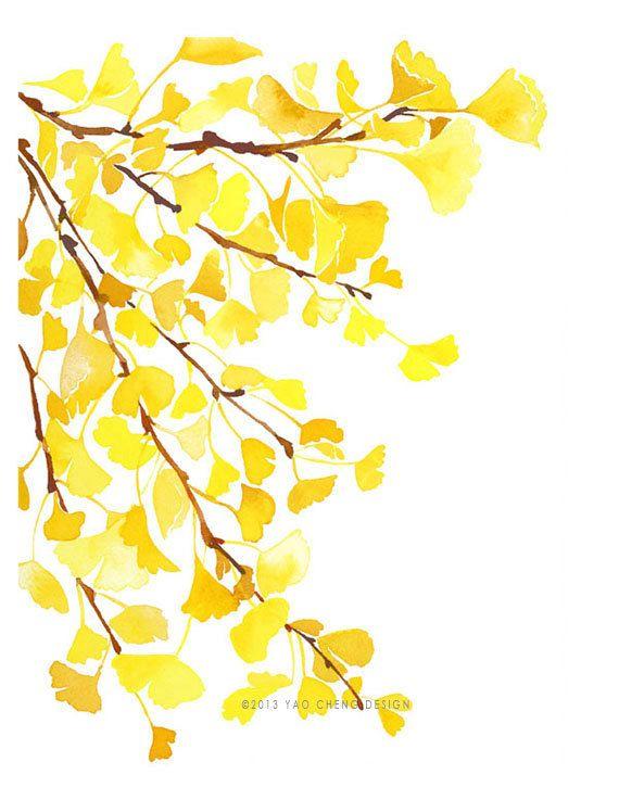Gelbe GinkgoAquarellKunstdruck