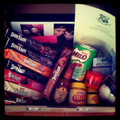 So many Tim Tams in this Aussie care package...