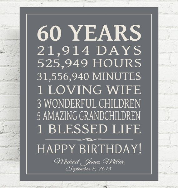 Celebrate your loved ones 60 years - or any year - birthday with this special gift, using your words. Shown here with days and hours, children, grandchildren but you may use your own lines as long as they fit similar to the example. This is perfect for any year birthday and will be cherished for a lifetime!  I NEED when ordering, in Note to PrintsbyChristine:  1. Your Background Color Choice if different than shown 2. Text color if different than shown 3. Personalization - Stats, name…