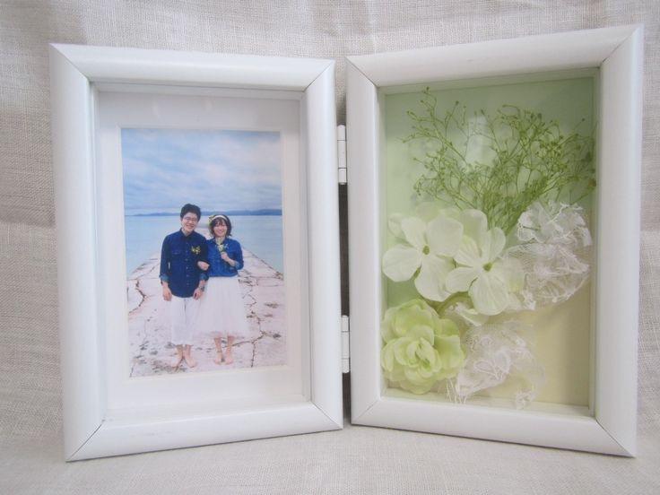 #贈呈品 #端切れレース #チュール #フォトフレーム  #プリザーブドフラワー #かすみそう #お揃い #前撮り#手作りアイテム #手作り #オリジナル #アットホーム #ナチュラル #結婚式 #Wedding #ガーデンウェディング #ルーデンス立川ウェディングガーデン  両家にひとつずつ、うちにもひとつ。 うちは両家の背景色を両方入れた。 プリザで統一感。