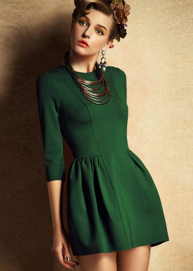 robe mince zippée mi-manche -vert