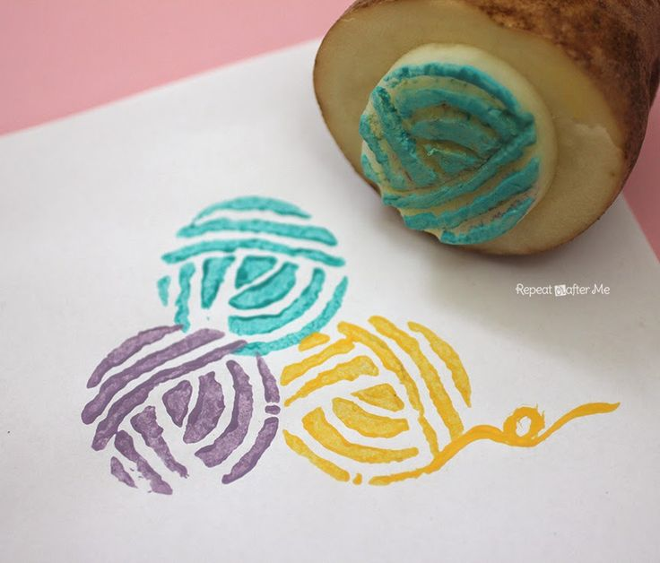 Repeat Crafter Me: Yarn Ball Potato Stamp. Would be super cute on cards or tags for crochets items!
