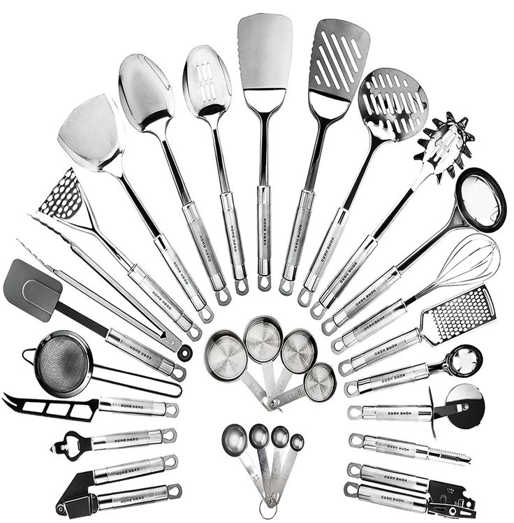 50.00  AmazonSmile | HomeHero Kitchen Cooking Utensils Set - Kitchenware 29-Pieces Stainless Steel Cookware Gadgets including Spatula, Measuring Cups and Spoons: Soup Ladles