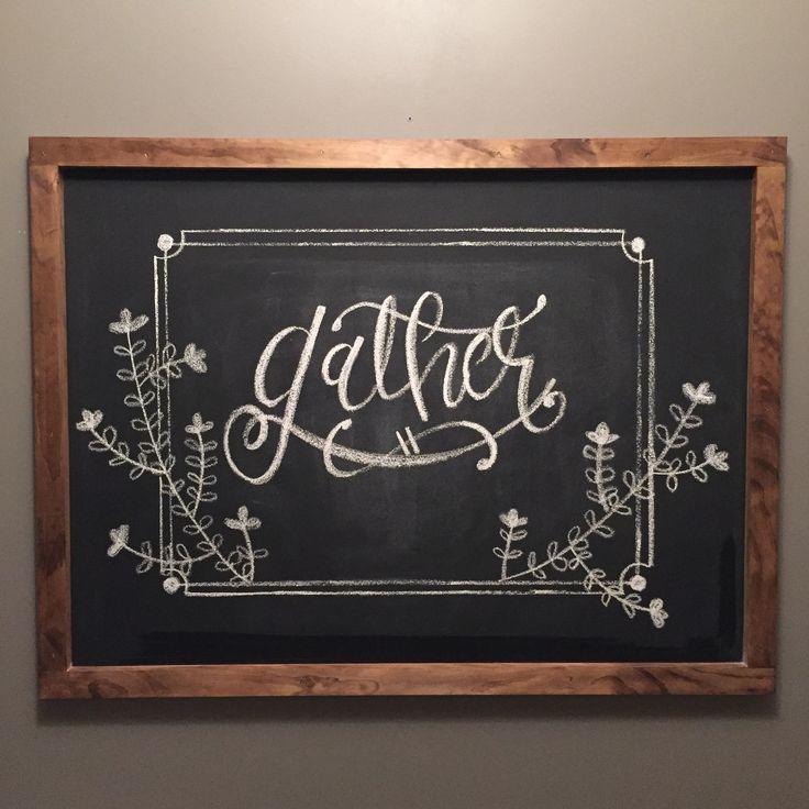 Thanksgiving chalkboard art #fall #gather #handlettering #diy #harvest                                                                                                                                                                                 More
