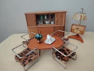 Setje poppenhuis meubeltjes jaren 50