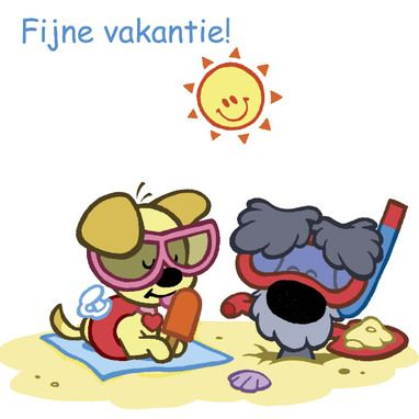 Woezel en Pip op het strand.