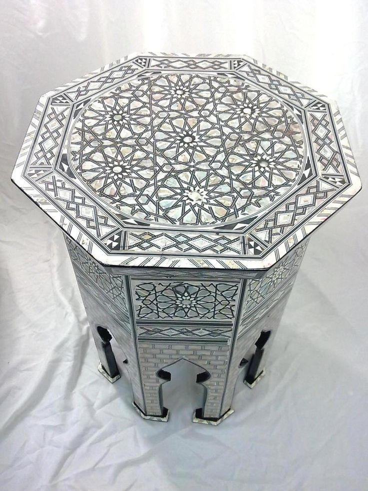 W77 MOP Moroccan Corner Wood Table Arabesque End Coffee #Zahereen #Moroccan