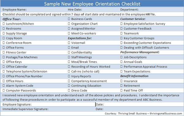 Sample New Employee Orientation Checklist