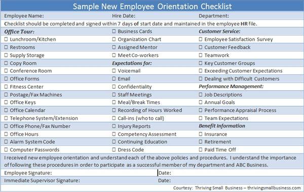 Sample New Employee Orientation Checklist Hiring