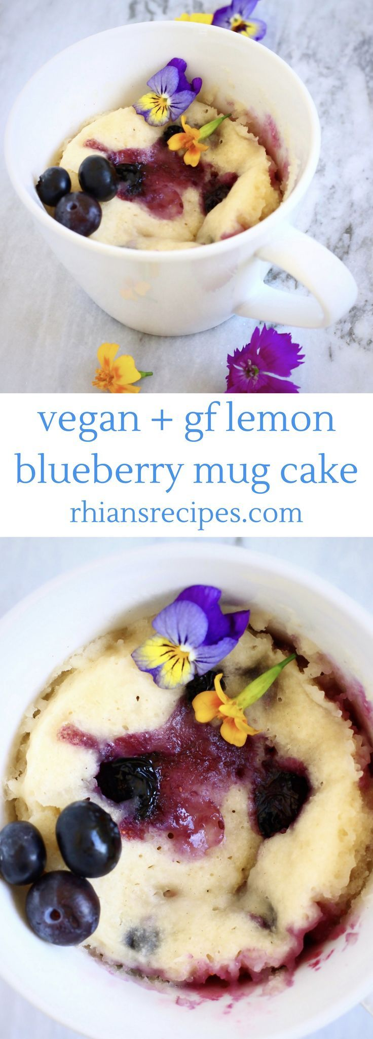 This Vegan Lemon Blueberry Microwave Mug Cake is refined sugar free, gluten-free optional and ready in just 5 minutes!