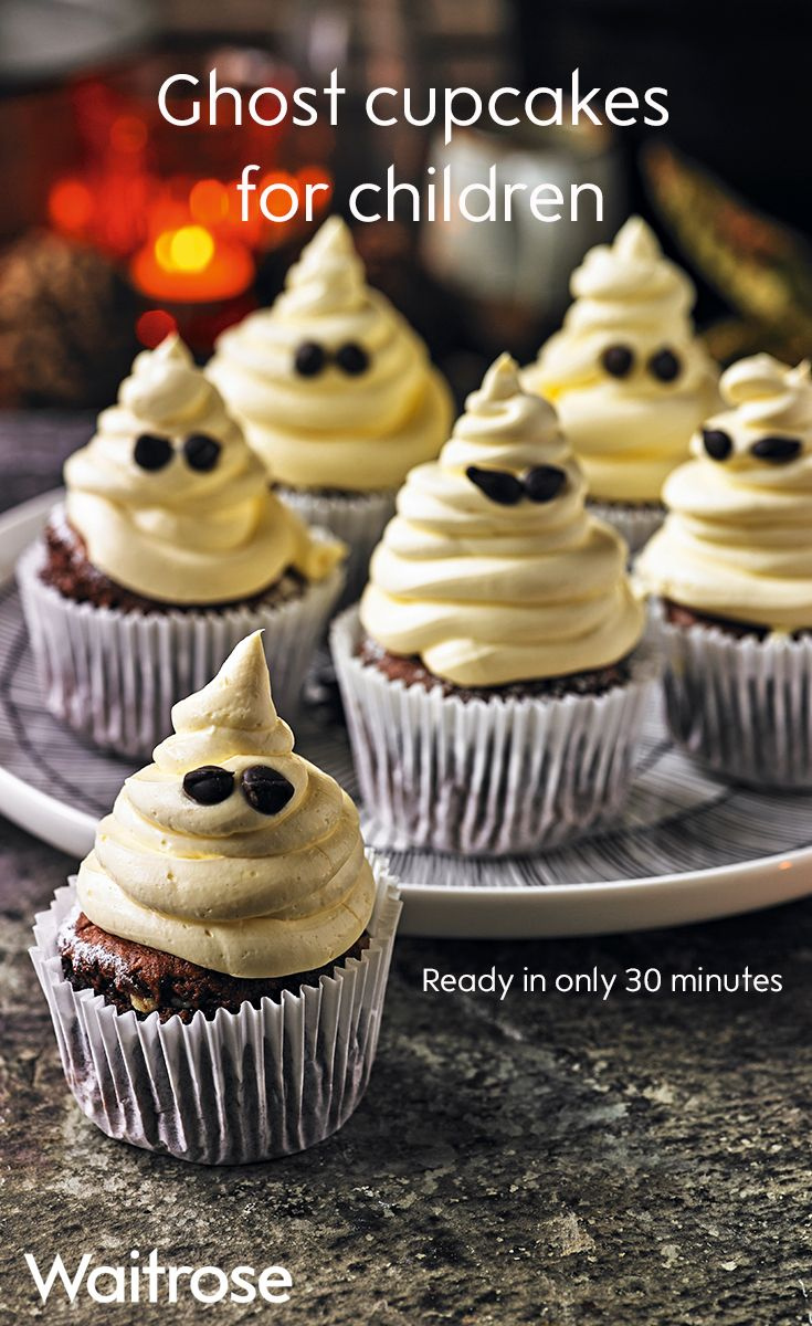 Our creamy ghost cupcakes with chocolate chip eyes are perfect for a Halloween party. This spooky bake is ready in just 30 minutes and they're sure to be a hit with the kids. See the full recipe on the Waitrose website.
