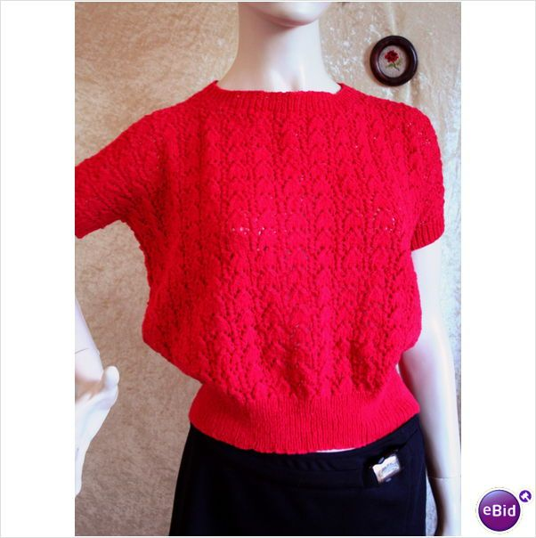 Vintage 1970 Hand Made Red Cap Sleeve Jumper Sweater Size 14 New Listing in the 1970s,Vintage,Clothes, Shoes, Accessories Category on eBid United Kingdom