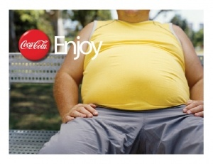 "Summary: This is example of culture jamming through a coke ad i found on pinterest.  Caption: This ad relates to the article ""Political Culture Jamming."" Pop as many people know is very unhealthy for you.  However, every coke ad is basically saying you are not enjoying life unless you drink coke.  This ad is simple and gets the point across that drinking coke makes you fat.-Joseph Traini"