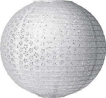 White 24 Inch Round Designer Eyelet Paper Lantern $17.95