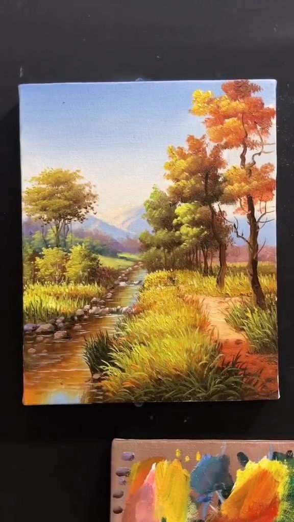 Nature Paintings, Beautiful Landscape Paintings, Tree Artwork, Sky Art, Yellow Painting, Diy Canvas Art, Hand Painting Art, Painting Techniques, Painted Trees