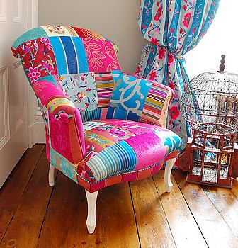 **LOVE THIS** Patchwork fabric: You could easily make your own patchwork fabric piece with which to upholster