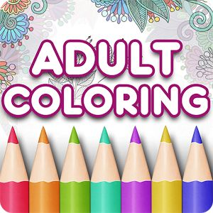 Adult Coloring Book app, available for Android and Apple devices.